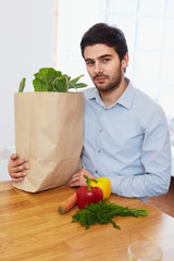 Man With a Grocery Shopping Bag. Healthy Lifestyle