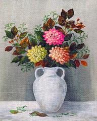 Painting Flowers Dahlias