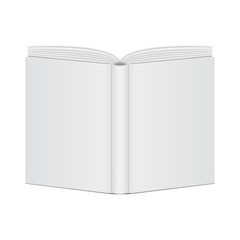 open book blank cover view back
