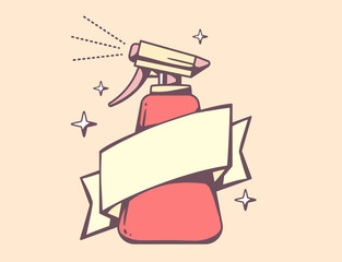 Vector illustration of red spray pistol with ribbon on pink back