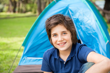 Boy Camping In Park