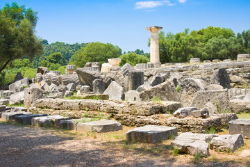 Building remains at ancient Olimpia, Greece