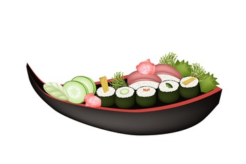 Sushi Roll or Maki Sushi on Wooden Stand