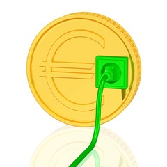 grüne Energie, Münze mit Steckdose