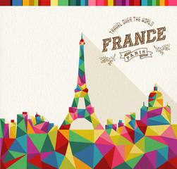 Travel France polygonal skyline