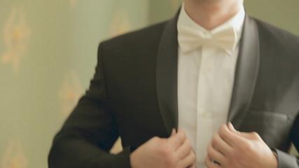Young stylish groom before wedding