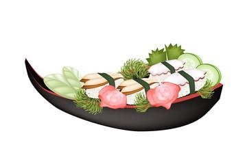 Unagi Sushi and Tako Sushi on Wooden Boat