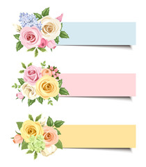Vector banners with colorful roses and lisianthus flowers.