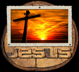 Jesus Cross at Sunset on Tree Trunk