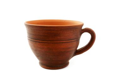 traditional clay mug on white background.