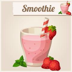 Detailed Icon. Strawberry smoothie.