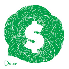 American Dollar. Currency sign.