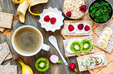 Healthy breakfast with crispbread, berries, yogurt and cress