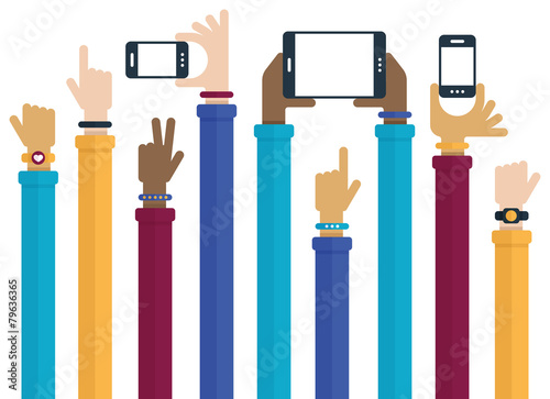 Hands Raised with Mobile Devices - 79636365