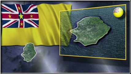 Niue Island flag and map animation