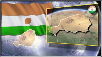 Niger flag and map animation