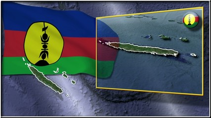 New Caledonia flag and map animation