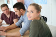 Group of young people in business training - 79637942