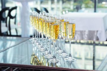Elegant glasses with champagne
