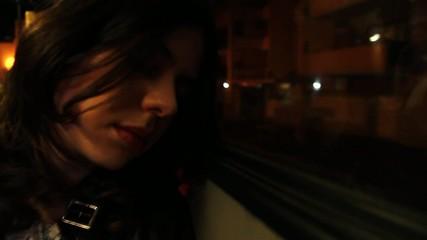 beautiful girl sleeping at night on public transport or bus