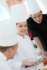 Portrait of girl in cooking training course