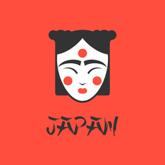 stylized vector illustration of a beautiful geisha girl face