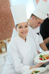 Portrait of student girl in cooking training course