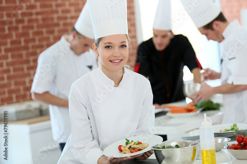 Portrait of student girl in cooking training course - 79638981