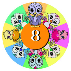 birds with number eight