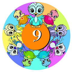 birds with number nine