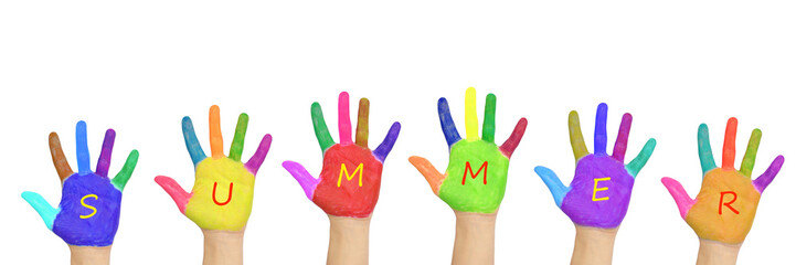 """Kids colorful hands forming word """"summer""""."""
