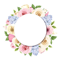 Background with colorful roses, lisianthus and lilac flowers.