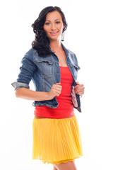 Beautiful caucasian woman in bright casual