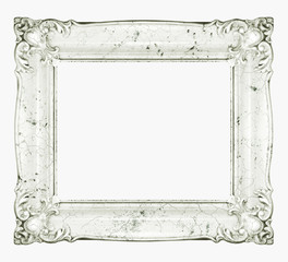White marble frame. Crackle texture white stone frame.