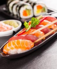 Delicious sushi salmon rolls
