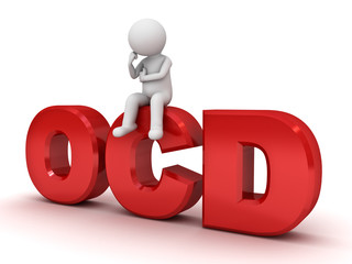 3d man sitting on ocd text or Obsessive compulsive disorder