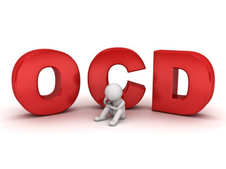 3d man sitting with ocd text or Obsessive compulsive disorder
