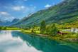 Leinwanddruck Bild - Norway. Country houses in village Olden