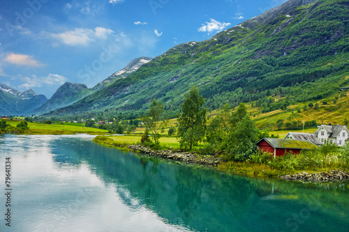 Norway. Country houses in village Olden - 79641334