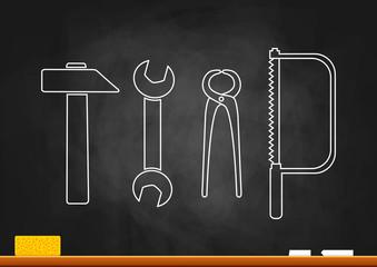 Drawing of tools on blackboard