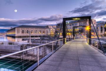 Footbridge on Seujet dam, Geneva, Switzerland, HDR