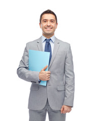happy businessman holding folder