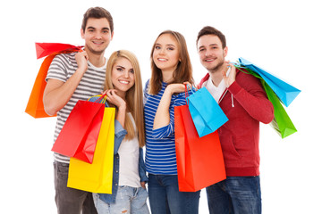 Group of young people shopping