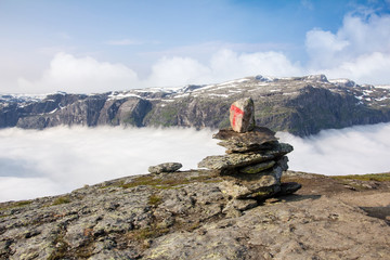 Stone Cairn on Norwegian Mountain