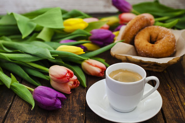 coffee, donuts and flowers