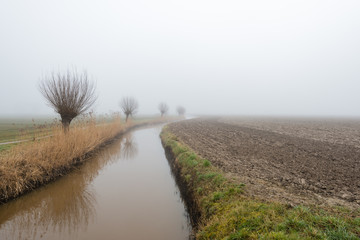 Meandering stream in a rural landscape