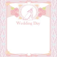 stylish wedding invitation card with vintage ornament