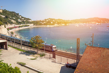 Railway station on the bay of Villefranche-Sur-Mer, France