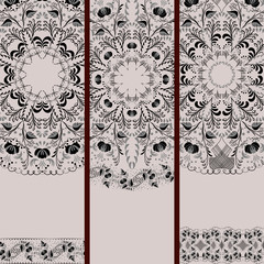 Set of banners with black-and-white ethnic floral pattern.