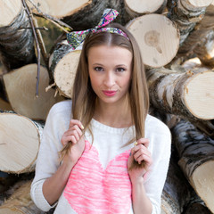 Girl on logs background